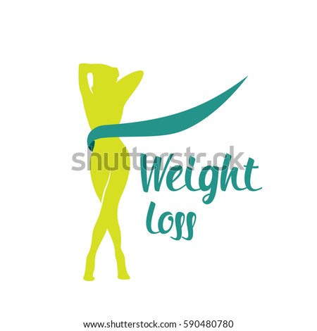 Silhouette green color woman weight loss shape isolated on white background