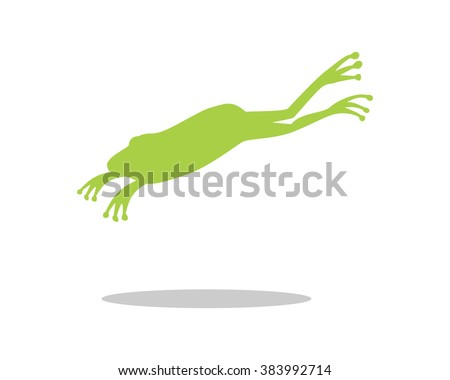 silhouette green frog image icon