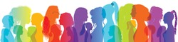 Silhouette group of multiethnic women who talk and share ideas and information. Women social network community. Communication and friendship between women or girls of diverse cultures