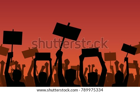 Silhouette group of people Raised Fist and signs Protest in flat icon design on red color background