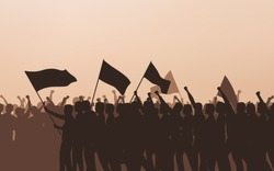 Silhouette group of protesters people Raised Fist and flags in flat icon design with evening sky background