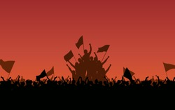 Silhouette group of protesters people Raised Fist and flags in flat icon design with red color evening sky background