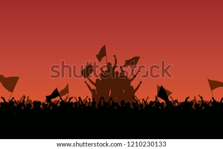 Silhouette group of protesters people Raised Fist and flags in flat icon design with red color evening sky background Сток-фото ©