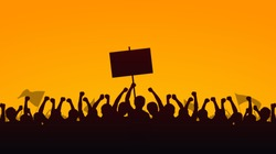 Silhouette group of protesters people Raised Fist and Protest Signs in yellow evening sky background