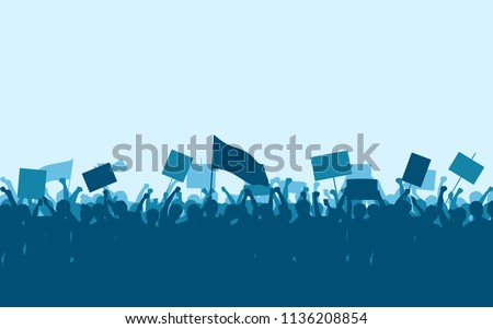 Silhouette group of protesters people Raised Fist and Signs in flat icon design with blue color sky background Foto stock ©
