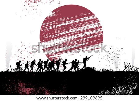silhouette group of soldiers in