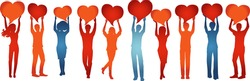 Silhouette group of volunteer people with raised arms holding heart shaped speech bubble.Care cooperation help and assistance to people.Concept of solidarity friendship and charity