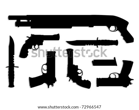 silhouette guns equipment - isolated illustration