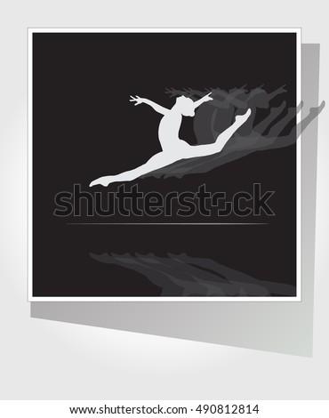 silhouette gymnastics woman on