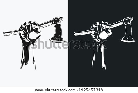 Silhouette hand holding axe clipart drawing in transparent background illustration Foto stock ©