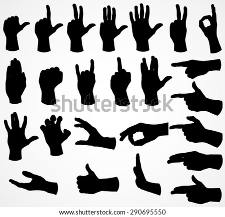 silhouette hand set   vector