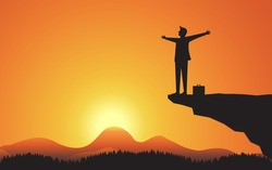Silhouette Happy Businessman standing with arms raised on mountain cliff of sunset background, Vector concept business successful