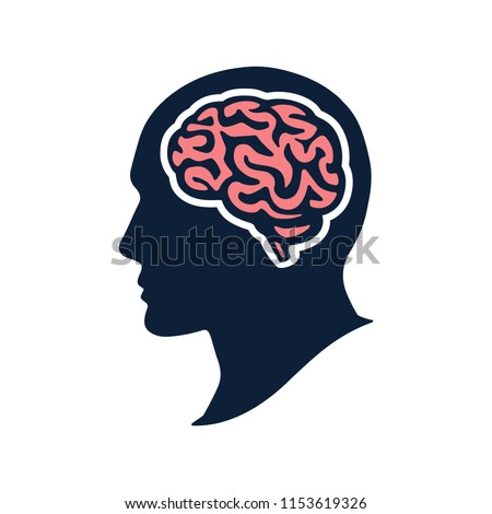 Silhouette head with brain vector flat illustation isolated on white