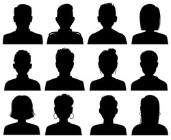 Silhouette heads. Male and female head avatars, office professional profiles. Anonymous faces portraits, black outline photo vector unknown faceless set