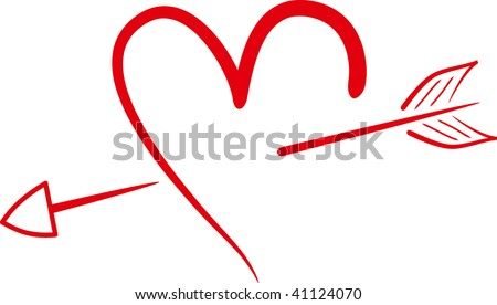 silhouette heart with arrow