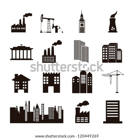 silhouette houses over white background. vector illustration