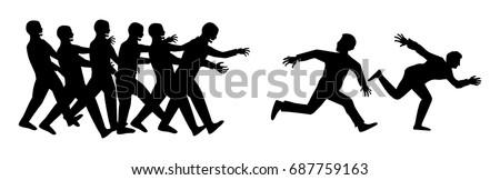 silhouette human run escape