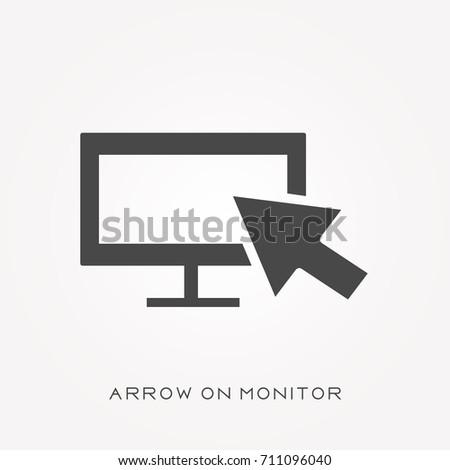 Silhouette icon arrow on monitor