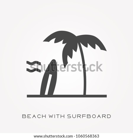 silhouette icon beach with
