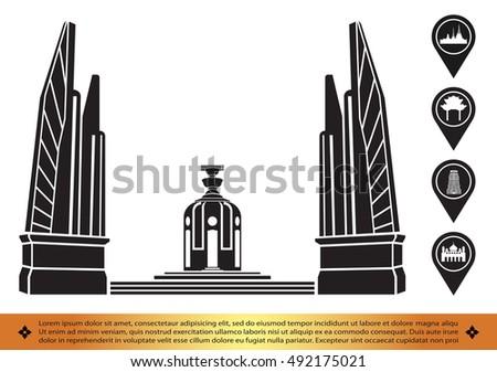 Silhouette icon of Bangkok city landmark