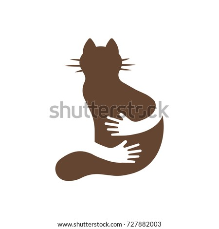 silhouette icon of cat and