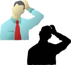 Silhouette icon of man in tie scratching his head in confusion. Vector illustration.