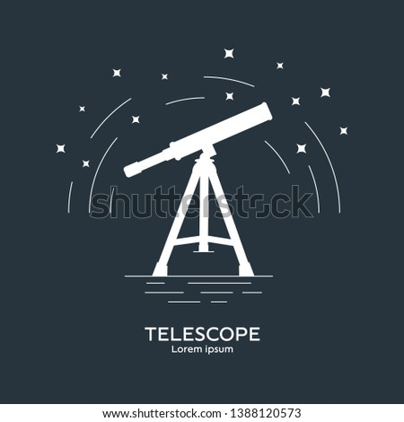 Silhouette icon of telescope. Telescope logo. Space exploration and adventure symbol. Concept of world explore. Clean and modern vector illustration for design, web.