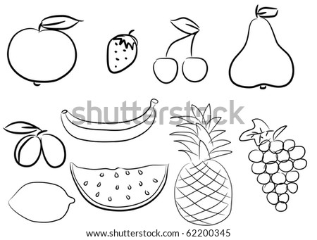 Silhouette icons of various fruit and berries