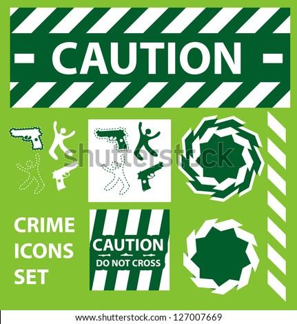 Silhouette icons set Caution, danger, and police crime concept design elements