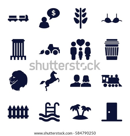 silhouette icons set set of 16