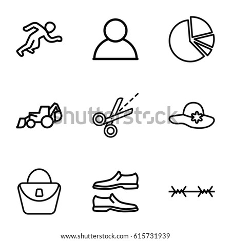 silhouette icons set set of 9