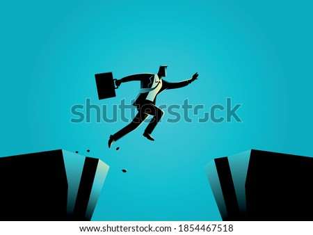 Silhouette illustration of a businessman jumps over the ravine. Challenge, obstacle, optimism, determination in business concept