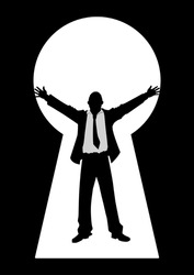 Silhouette illustration of a businessman with open arms seen through from a key hole