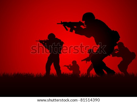Silhouette illustration of a group of soldiers in assault formation