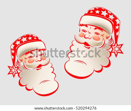 silhouette illustration of a Jolly Santa Claus painted in red color