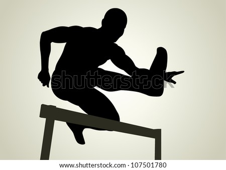 Silhouette illustration of a man figure jumping over obstacles