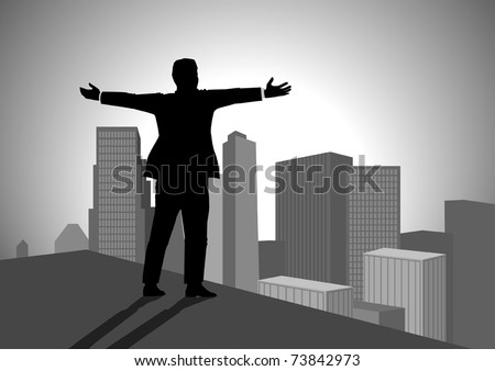 Silhouette illustration of a man standing on top of a building with open arms