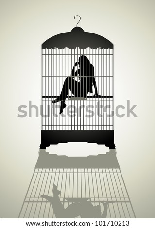 Silhouette illustration of a woman in the bird cage
