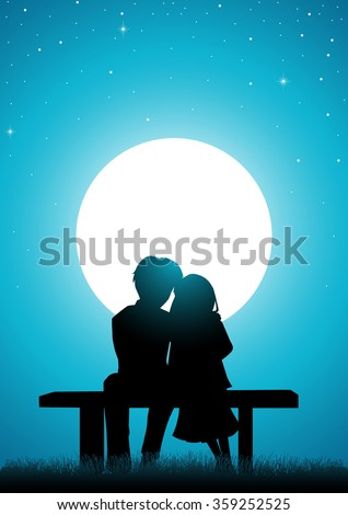Silhouette illustration of a young lover sitting watching the moon