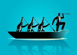 Silhouette illustration of businessmen rowing the boat, teamwork, success, leadership in business concept
