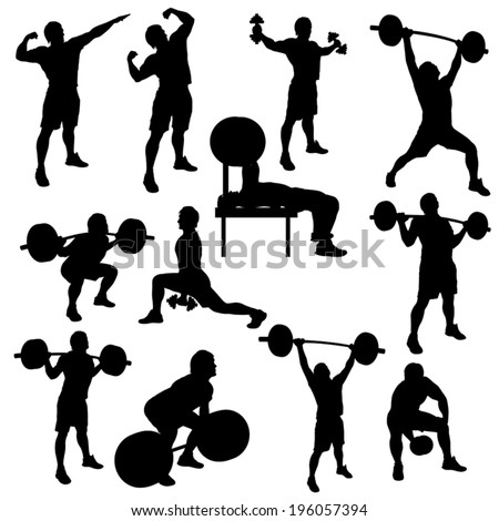 silhouette illustration of different male athletes which are working out