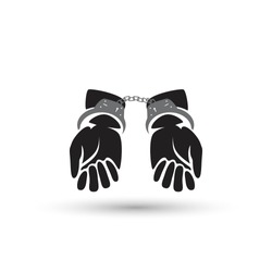 Silhouette illustration of human hands handcuffed