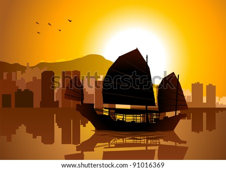 Silhouette illustration of Junk boat in Hong Kong