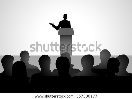 Silhouette illustration of man figure giving a speech on stage. Stock photo ©