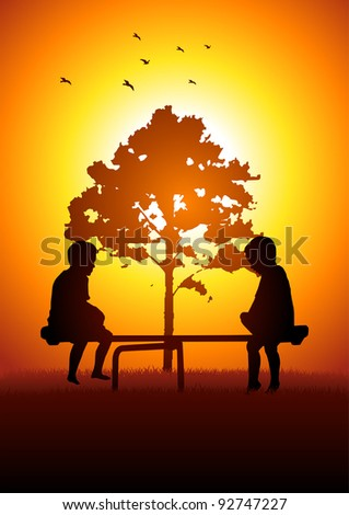 Silhouette illustration of two kids playing with teeter totter