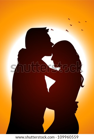 silhouette illustration of two