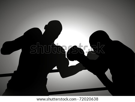 Silhouette illustration of two people are boxing