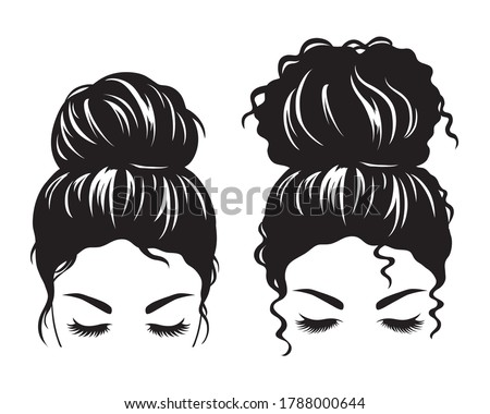 Silhouette image of a woman face with messy hair in a bun and long eyelashes vector illustration. Foto stock ©