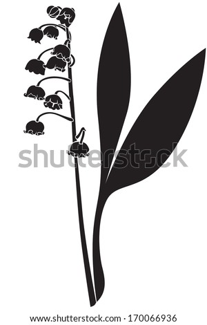Silhouette image spring lily of the valley flower - stock vector