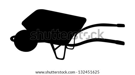 silhouette isolated illustration of wheelbarrow
